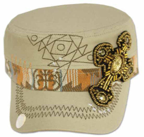 Sakkas Women's Aztec Beaded Cross Cadet Cap