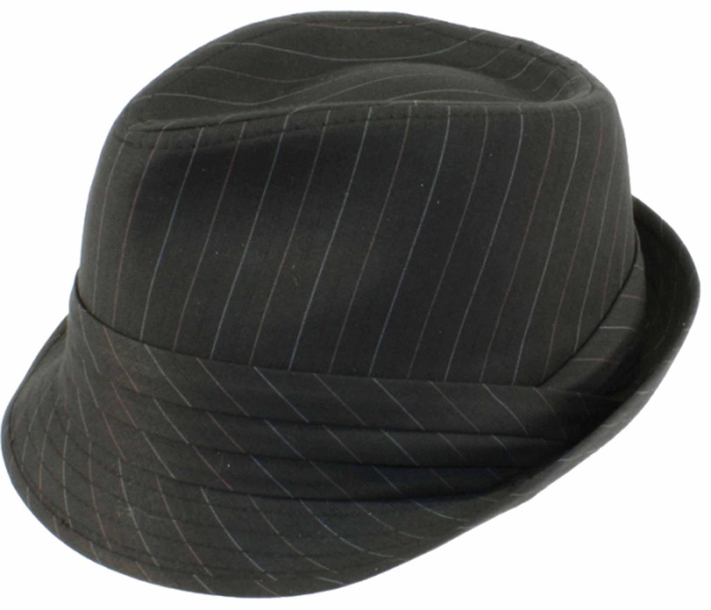 Sakkas Pleated Pinstripe Narrow Brim Fedora