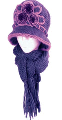 Sakkas Womens 2-piece Knitted Bucket Scarf Hat Set with Faux Fur Flower Accent
