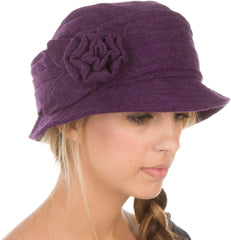 Sakkas Womens Wool Blend Foldable Cloche Bucket Hat with Flower Accent