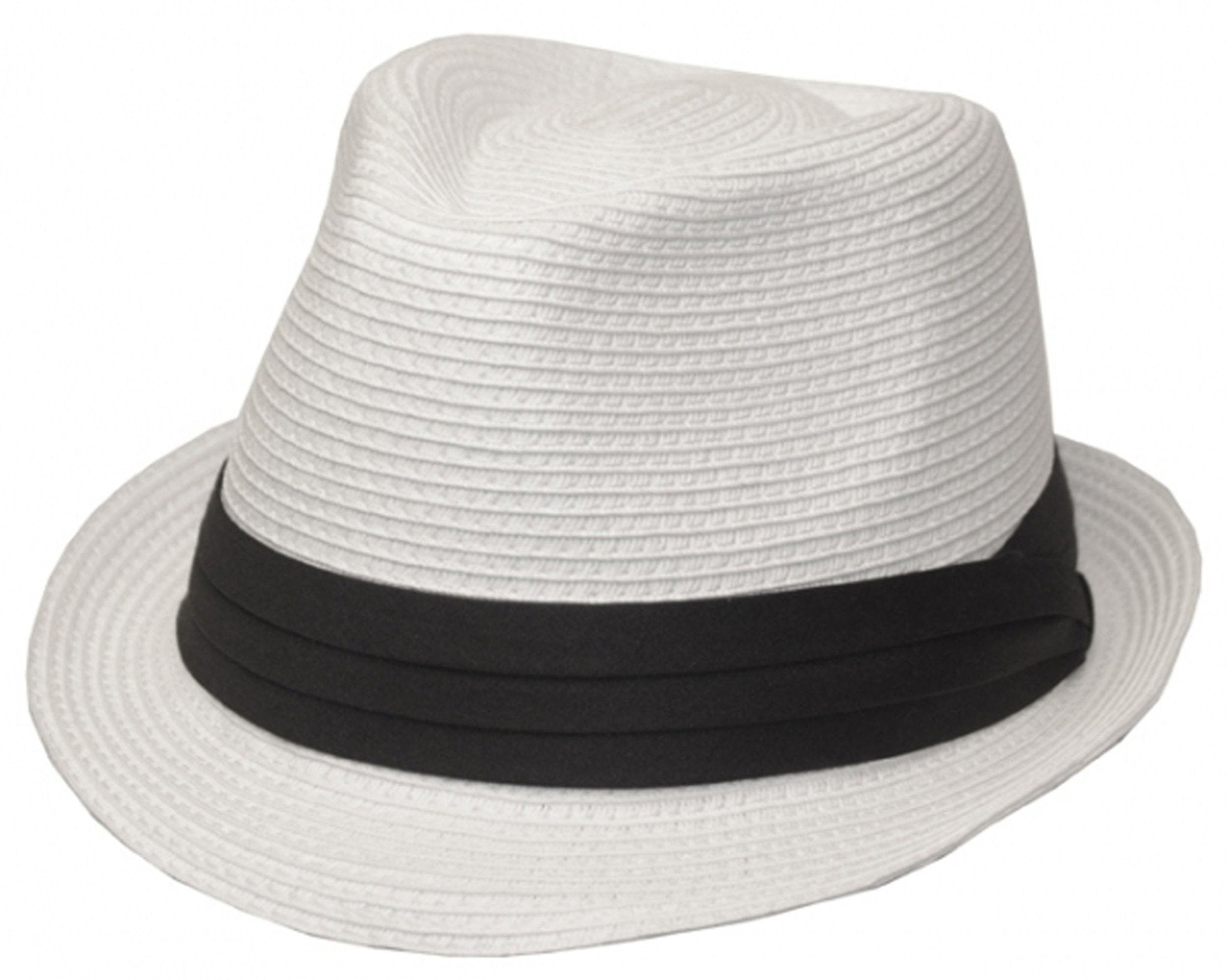 8f91b4f9091be Mens Structured 100% Paper Straw Black Band Fedora Hat - Sakkas Store
