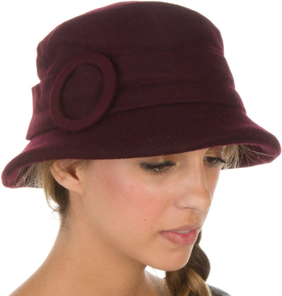 Sakkas Womens Wool Blend Foldable Cloche Bucket Winter Hat with Buckle Accent
