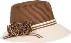 Sakkas Womens 100% Paper Straw Flower Accent Cloche Bucket Bell Summer Hat
