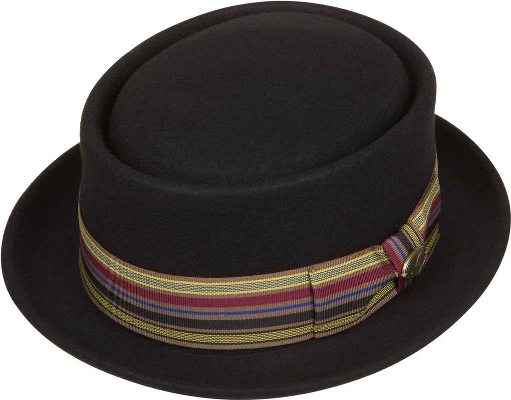 Sakkas Buster Patterned Band Wool Porkpie Hat