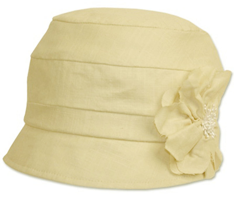 Sakkas Womens Solid Linen Blend Flower Accent Cloche Bucket Bell Summer Hat