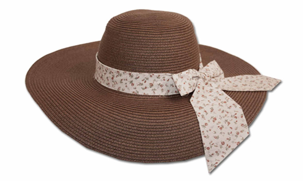Sakkas Women's Sweet Floral Ribbon Accent UPF 50+ Floppy Brim Straw Hat