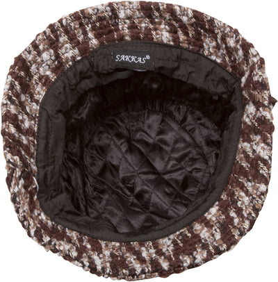 Sakkas Womens Wool Blend Foldable Cloche Bucket Winter Hat with Velvet Flower Accent