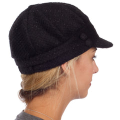 Sakkas Womens Wool Blend Newsboy / Cabbie Winter Hat / Cap with Buttoned Detail