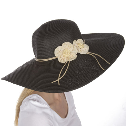 Sakkas Bella UPF 50+ 100% Paper Straw Flower Accent Wide Brim Floppy Hat