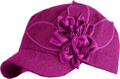 Womens Wool Cadet / Military Winter Hat / Cap with Satin Flower Accent