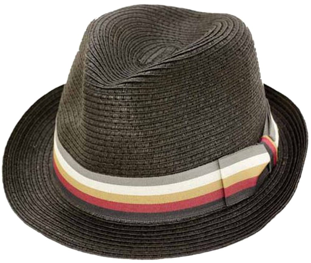 Sakkas Striped Bow Pinch Crown Straw Hat