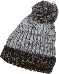 Sakkas Two Tone Thick Knit Pom Pom Beanie