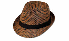 Sakkas Black Band Braided Straw Fedora