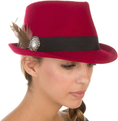 Sakkas Womens Structured Wool Blend Feathered Rhinestone Brooch Accent Fedora Hat