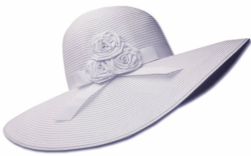 Sakkas Womens UPF 50+ 100% Paper Straw Ribbon Flower Accent Wide Brim Floppy Hat