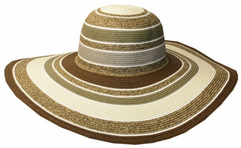 Womens UPF 50+ 100% Paper Straw Multi-Color Striped Wide Brim Floppy Hat