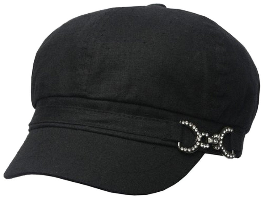Womens Linen Blend Newsboy / Cabbie Hat / Cap with Rhinestone Buckle Accent