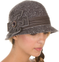 Sakkas Womens Vintage Style Cloche Bucket Bell Hat with Velvet Flower Accent