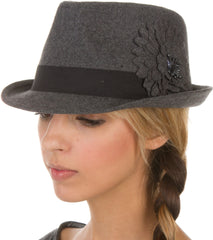 Sakkas Womens Structured Wool Blend Flower Accent Fedora Hat