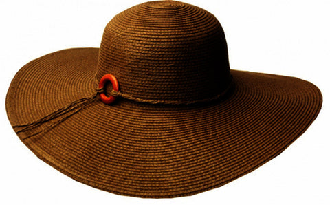 Sakkas Womens UPF 50+ 100% Paper Straw Wood Bead Accent Wide Brim Floppy Hat