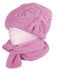 Womens 2-piece Knitted Beanie Scarf and Hat Set with Bow Accent (6 Colors)