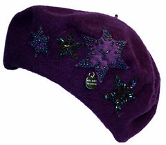 Sakkas Classic Wool Warm Thick French Beret / Winter Hat - Patchwork Stars