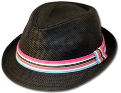 Womens Structured 100% Paper Straw Multi-color Band Fedora Hat