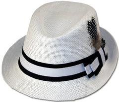 Unisex Structured 100% Paper Straw Matching Feather Band Fedora Hat