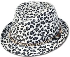 Unisex Structured Animal Print 100% Polyester Faux Leather Band Fedora Hat