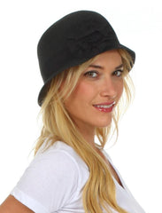 Womens 100% Paper Straw Black Flower Accent Cloche Bucket Bell Summer Hat
