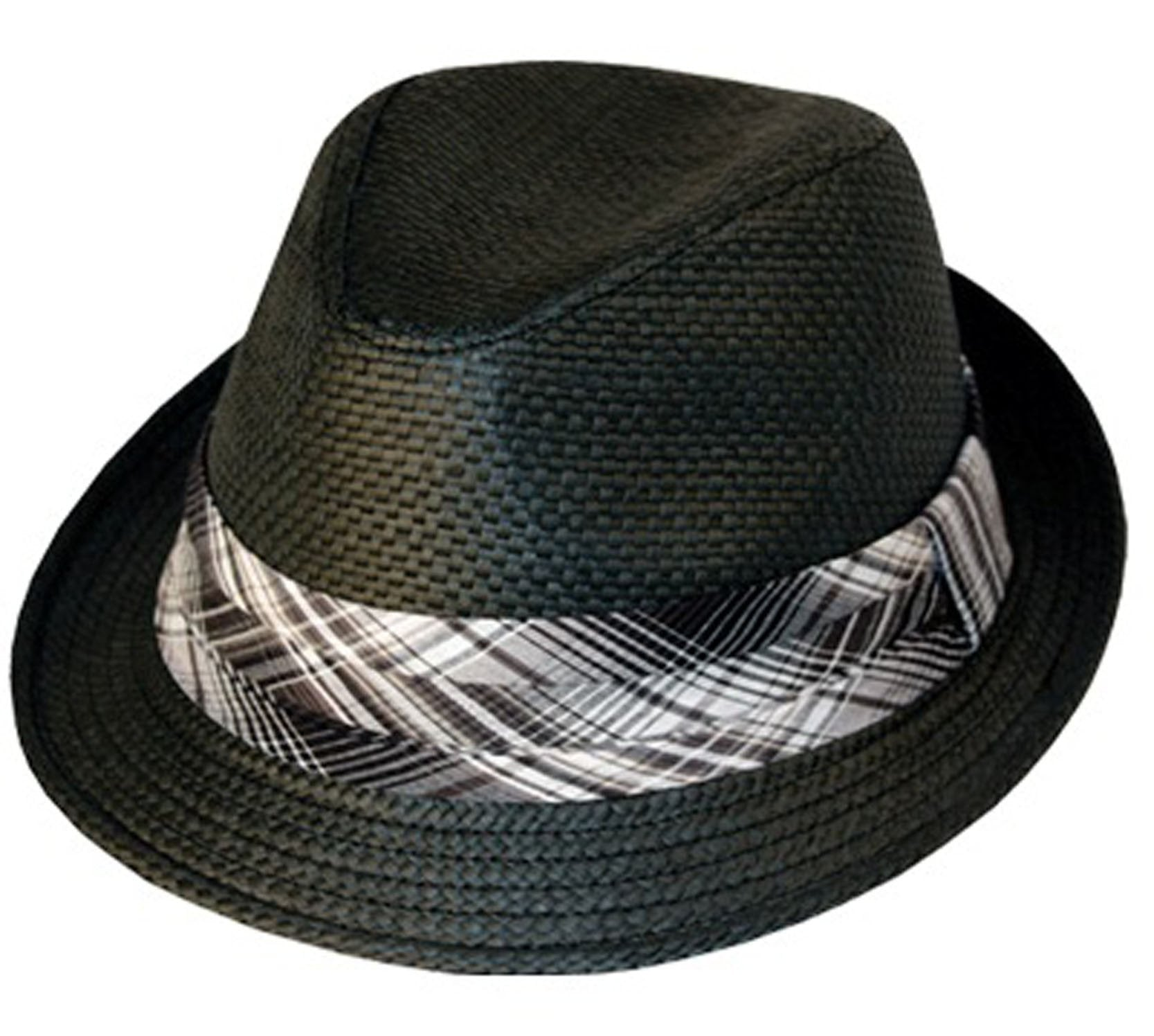 43f56e1a73475 Mens Structured 100% Paper Straw Matching Plaid Band Fedora Hat ...