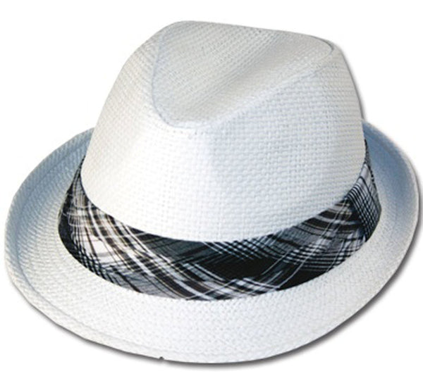 Mens Structured 100% Paper Straw Matching Plaid Band Fedora Hat