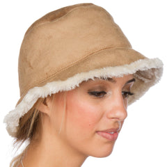 Womens Vintage Style Suede Cloche Bucket Winter Hat with Faux Fur Lining ( 3 Colors )