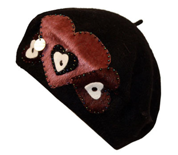 Sakkas Classic Wool Warm Thick French Beret / Winter Hat - Patchwork Hearts