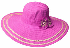 Sakkas Women's Ribbon Paper Straw Accent UPF 50+ Sun Hat