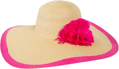 Sakkas Floral Floppy Hat With Bright Striped Brim Accent