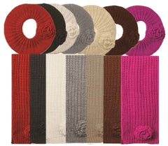 Womens Knitted 2-piece Beret Scarf and Hat Set with Flower Accent ( 8 Colors )