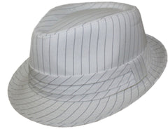 Unisex Structured Pinstripe Fedora Hat ( 3 Colors )
