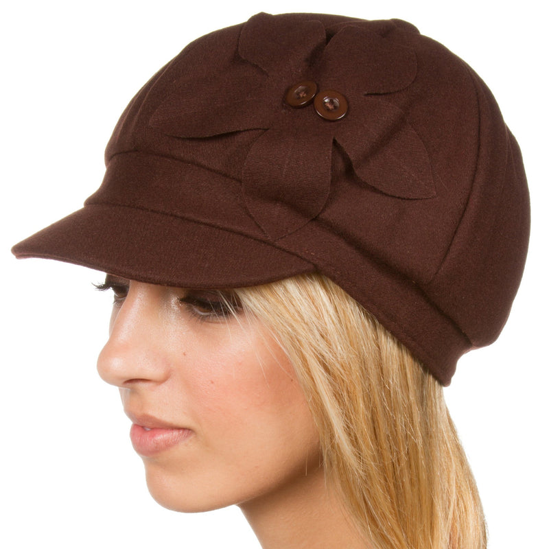 Sakkas Sasha Wool Newsboy Cabbie Hat with Button Flower