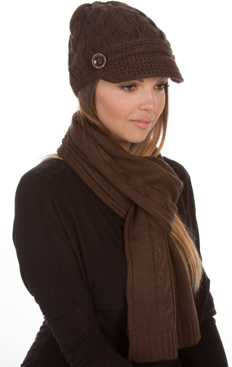 Sakkas Womens 2-piece Cable Knitted Visor Beanie Scarf and Hat Set with Button