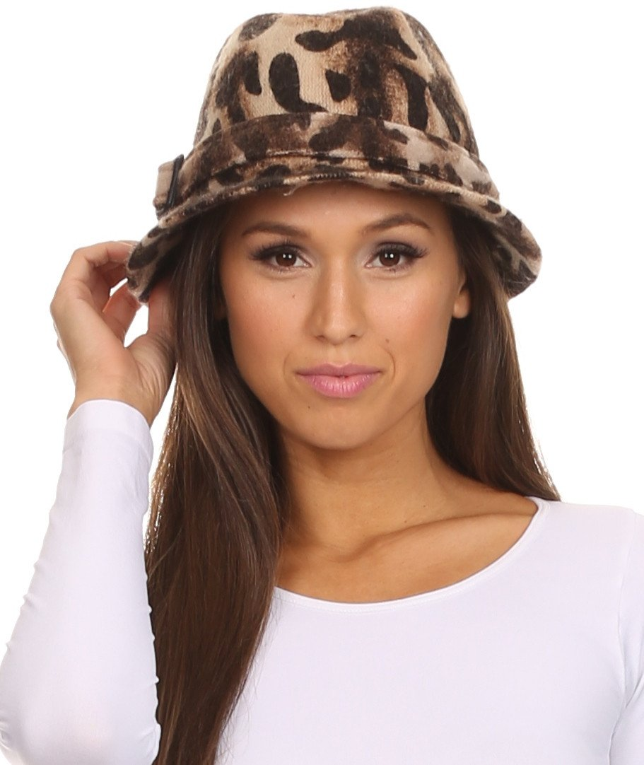 89ccdad783610 Sakkas Nelda Adjustable Leopard Printed Structured Fedora Hat Cap With - Sakkas  Store