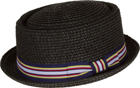 Sakkas George Flat Top Small brimmed Pork Pie Paper Straw Hat With Ribbon