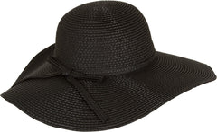 Sakkas Katy Wide Brimmed Straw Floppy Hat With Straw Bow