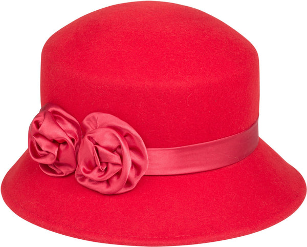 Sakkas Alice Satin Rose Vintage Style Wool Cloche Hat