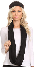 Sakkas Bri Classic Button Cable Knit Beanie Hat And Matching Infinity Scarf Set#color_Black