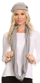 Sakkas Bri Classic Button Cable Knit Beanie Hat And Matching Infinity Scarf Set