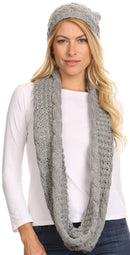 Sakkas Haile Metallic Threaded Woven Classic Hat Beanie And Infinity Scarf Set