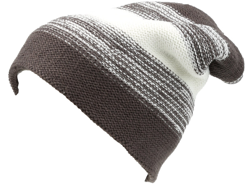 Sakkas Balmn Long Tall Classic Striped Heather Faux Fur Lined Unisex Beanie Hat