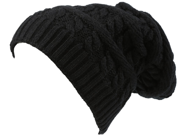 Sakkas Figaro Long Tall Classic Cable Knit Faux Fur Lined Unisex Beanie Hat