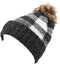 Sakkas Baya Long Tall Checker Pattern Fold Over Faux Fur Pom Pom Unisex Beanie Hat#color_Black / White